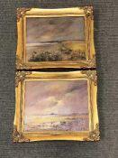 Nancie Foster : Towards Boulmer, oil on board, 25 cm x 19 cm,