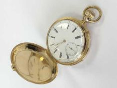 An 18ct gold full hunter quarter-repeating pocket watch signed Pateck & Cie,