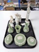 A tray of six pieces of green Wedgwood china, six assorted Nao,