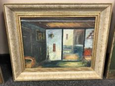 Continental School : oil on canvas depicting a salon interior