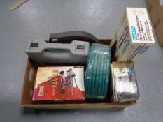 A box of power devil router and cordless drill, Black & Decker sander,
