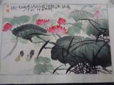 A mid century Japanese watercolour scroll depicting water lily, boxed.