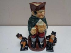A Royal Doulton character jug - Old Charley together with two Dickens figures - Bill Sykes and