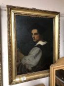 Twentieth century gilt framed oil - Portrait of a Gentleman in gilt frame.
