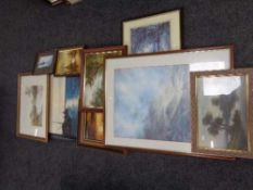 A quantity of assorted framed pictures, oil on board, framed watercolour,