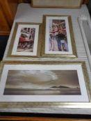 Three contemporary framed prints - Coast and street scenes