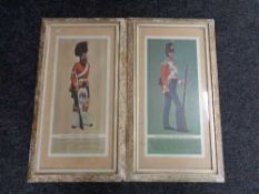 A pair of cream and gilt framed M Greensmith colour prints depicting a private of the 17th regiment