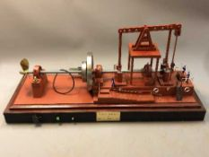 A large model Walking Beam Marine Engine 1904, on plinth under glass cover,