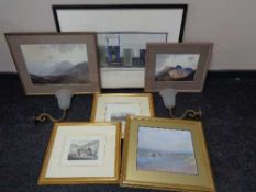 Three gilt framed prints together with two framed Heaton Cooper prints, Macintosh style print,