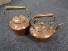 Two Victorian copper kettles