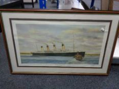 A framed and signed S W Fisher print - The Titanic at Queens Town, dated Thursday 11th April 1912.