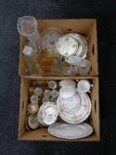 Two boxes of part Richmond china tea service, Japanese coffee set, glass ware,