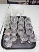 A tray of crystal glass,