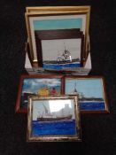 A box of eight framed pictures depicting boats - The Cliff Quay,