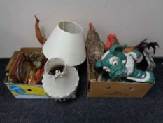 Two boxes of mirrors and prints, two hen figures, large pottery dog,