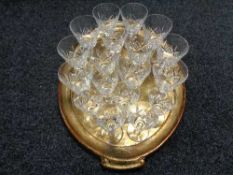 A wooden gilded serving tray of Stuart crystal