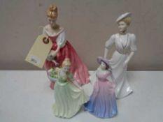 A Royal Doulton figure - Alexandra HN 3292 together with three further Coalport figures - Debutant
