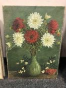 Continental School : oil on canvas depicting still life with flowers in a vase