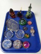 A tray of glass paperweights ,