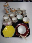 A tray of Japanese tea service, part Harlequin tea set,