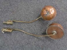 Two pieces of antique brass and copper brewing apparatus