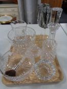 A tray of glass ware, crystal decanter, fruit bowl,