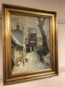 Continental School : oil on canvas depicting chickens in a snowy lane