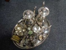 A plated gallery tray of plated wares, four piece tea service, cutlery, napkin rings,