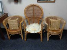 Five pieces of bamboo and wicker conservatory furniture