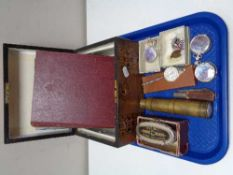 A Victorian inlaid walnut table box together with brass cased pocket telescope, Martins money bank,