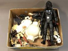 A collection of unboxed Star Wars action figures including Obi-Wan Kenobi, Anakin Skywalker,