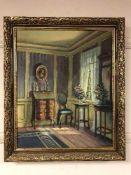 Continental School : salon interior, oil on canvas, framed.