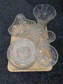 A tray of glass ware, cut glass and crystal fruit bowl, vases,