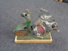 An antique spelter figure on chariot with two rearing horses (Af)