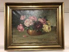 Continental School : Still life with flowers in a bowl, oil on canvas.