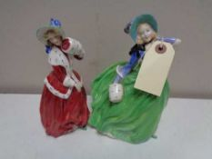 Two Royal Doulton figures - Christmas Morn 1992 and Autumn Breezes HN 1913