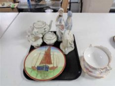 A tray of Spanish figures, Royal Doulton plate depicting boats,