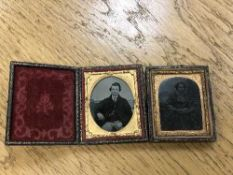 A Victorian folding daguerreotype tooled leather frame and one other.