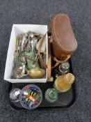 A tray of cased binoculars, glass paperweights, plated cutlery, sugar sifter,