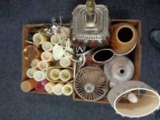 Two boxes of contemporary vases, table lamps,