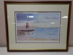 A limited edition signed colour print by Tom Finch - Coastal view