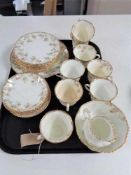 A tray of Victorian Queen's china tea service