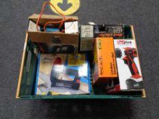 A box of power tools, Black & Decker jigsaw and heat gun,