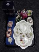 A tray of china, Aynsley ware, china flower posies, Royal Crown Derby trinket dish,