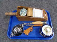 A tray of wooden card shoe, desk bell,