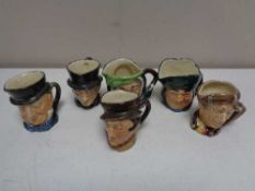 Six miniature Royal Doulton character jugs - Sairey Gamp, Old Charley,