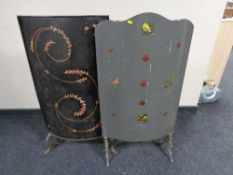 Two antique metal fire screens with hand painted decoration