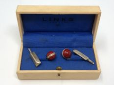 Cricket interest: A pair of silver and enamel cuff links by Links of London, boxed.