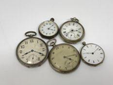 Five various pocket watches (four silver)