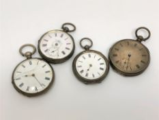 Four silver pocket watches
